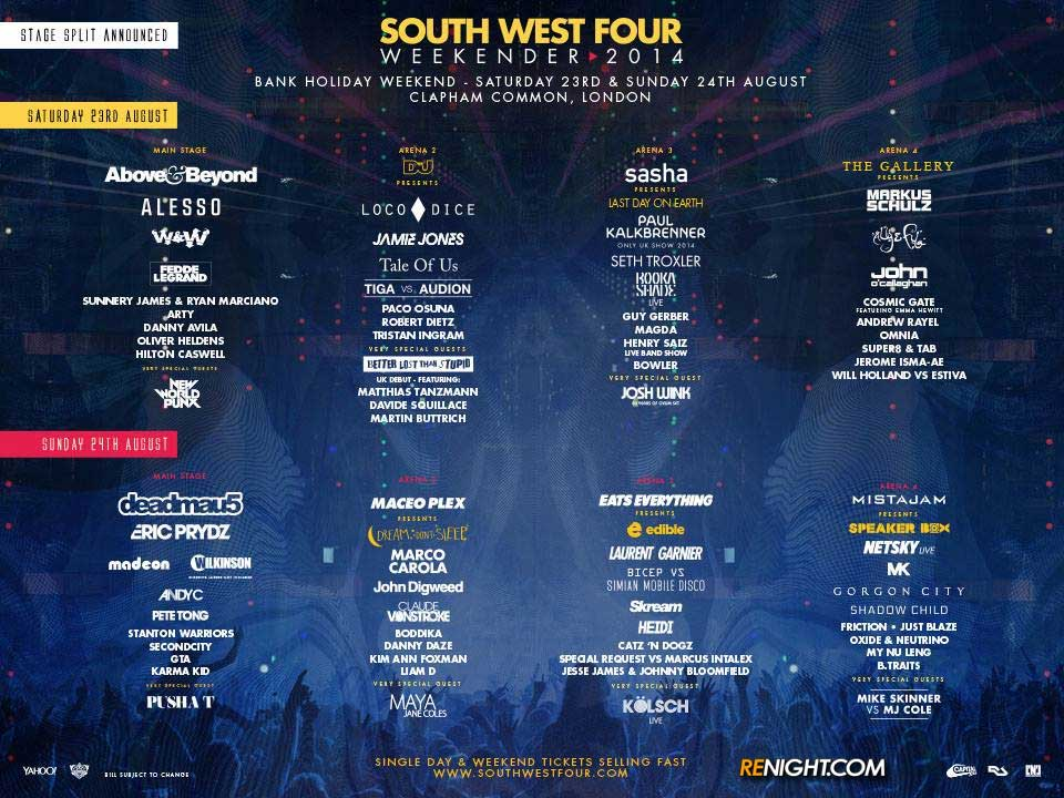download → Above and Beyond, Arty, Fedde le Grand, Wilkinson, Second City - SW4 Weekender London - August 2014