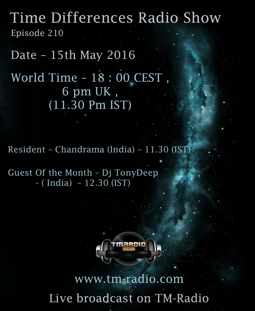 download → Chandrama, TonyDeep - Time Differences 210 on TM Radio - 15-May-2016
