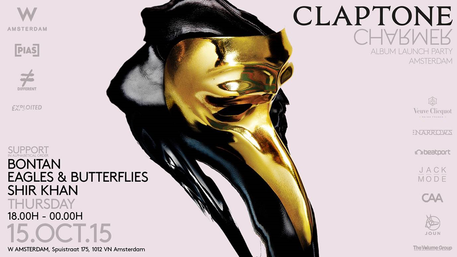download → Claptone, Eagles & Butterflies, Bontan, Shir Khan - live at Claptone Album Launch Party, W Hotel, ADE 2015 - 15-Oct-2015