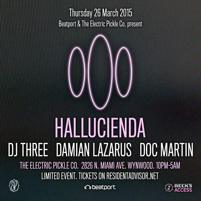 download → DJ Three, Damian Lazarus, Doc Martin - live at Hallucienda, Electric Pickle, WMC 2015, Miami - 26-Mar-2015