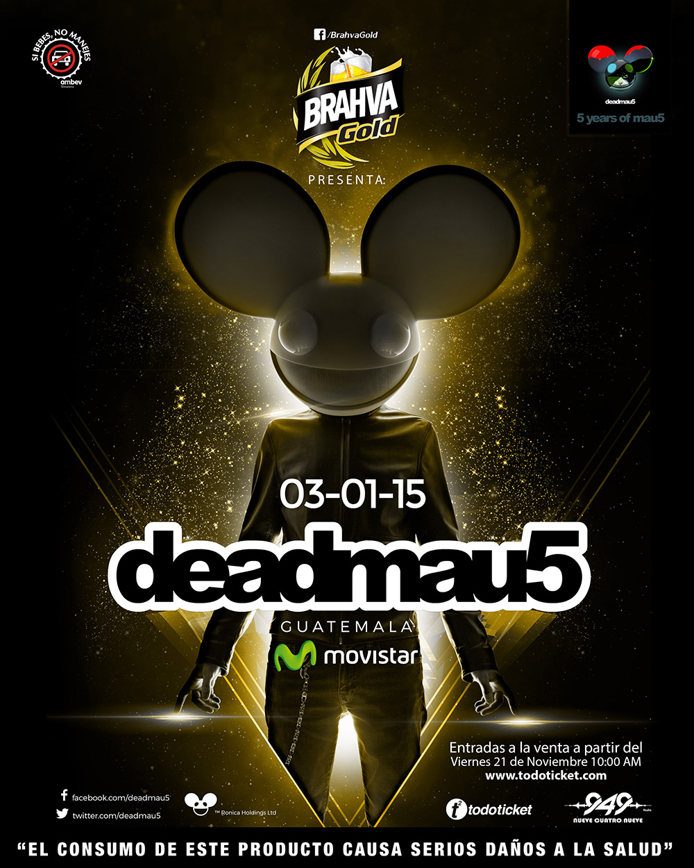 download → Deadmau5 - live at 5 Years Of Mau5, Guatemala - 03-Jan-2015