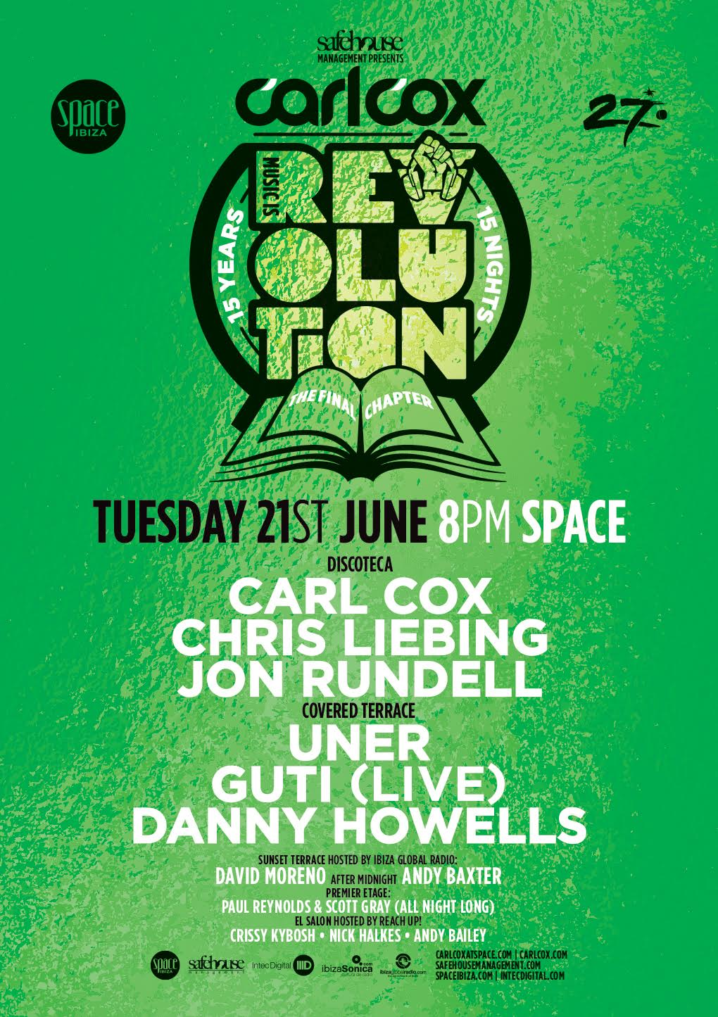 download → Carl Cox, Danny Howells, Guti, Uner - Music is Revolution, Week 2 (Space, Ibiza) - 720p HD - 21-Jun-2016
