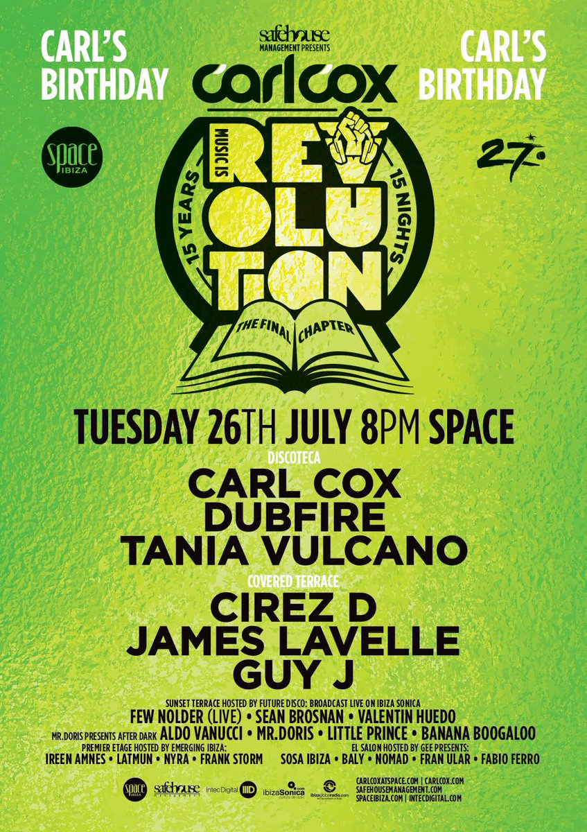 download → Tania Vulcano - live at Music is Revolution, Week 7, CARL's BIRTHDAY DISCOTECA (Space, Ibiza) - 26-Jul-2016
