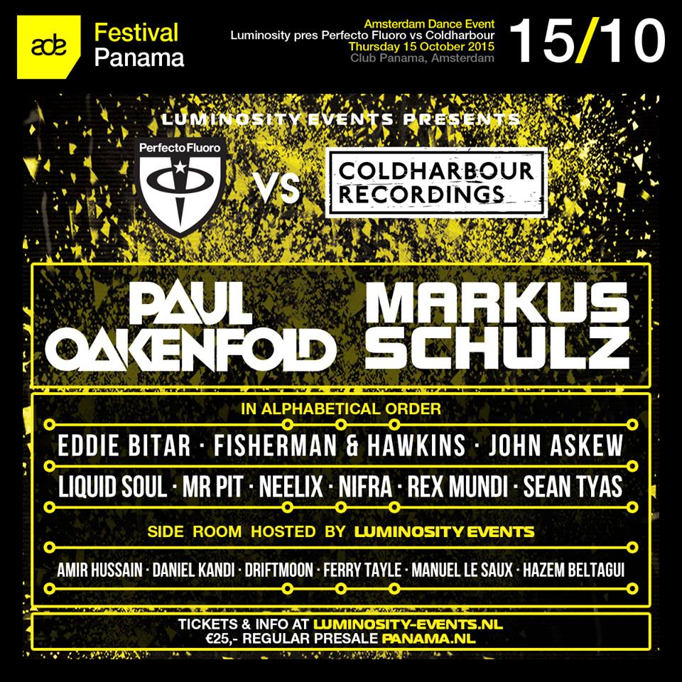 download → Paul Oakenfold, Markus Schulz, Nifra, John Askew, Neelix, Mr Pit, Rex Mundi, Fisherman & Hawkins - live at Perfecto Fluoro VS Coldharbour Recordings, Club Panama, ADE 2015 - 15-Oct-2015