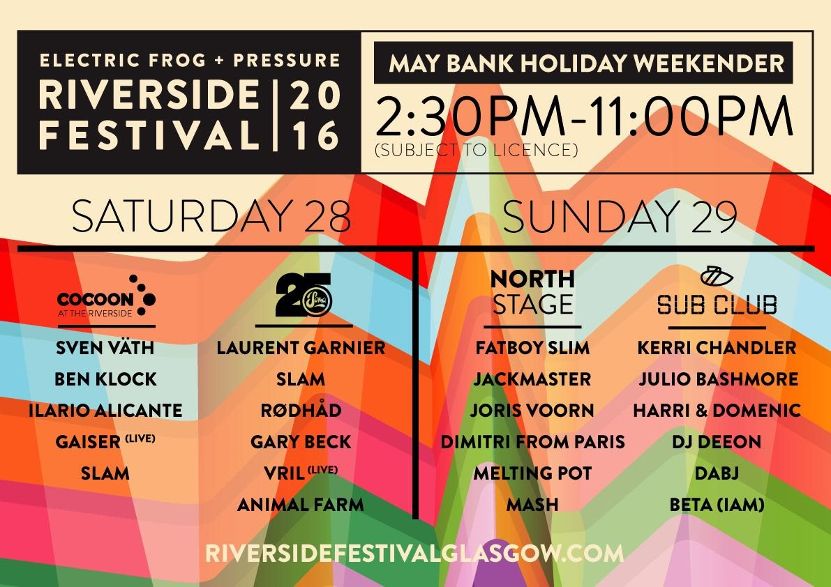 download → Laurent Garnier, Gary Beck, Julio Bashmore, Slam, I AM, DJ Deeon, Animal Farm, Harri & Domenic - live at Riverside Festival 2016 (Glasgow) - 28-May-2016