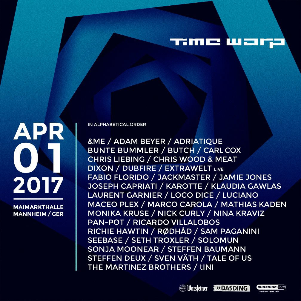 Sven Vath, Maceo Plex, Adam Beyer, Dubfire, Pan-pot, Nina Kraviz, Chris Liebing, etc - live at Time Warp 2017 (Mannheim, Germany) - FULL COLLECTION - 01-Apr-2017