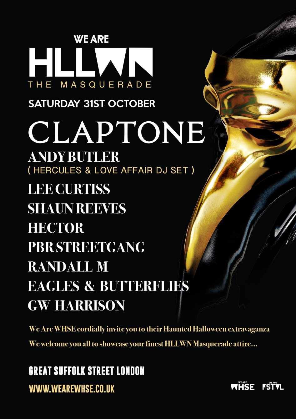 download → Eagles & Butterflies, Claptone, Hector, Lee Curtiss, Shaun Reeves, Andy Butler, GW Harrison - live at We Are HLLWN, Great Suffolk Street Warehouse - 31-Oct-2015