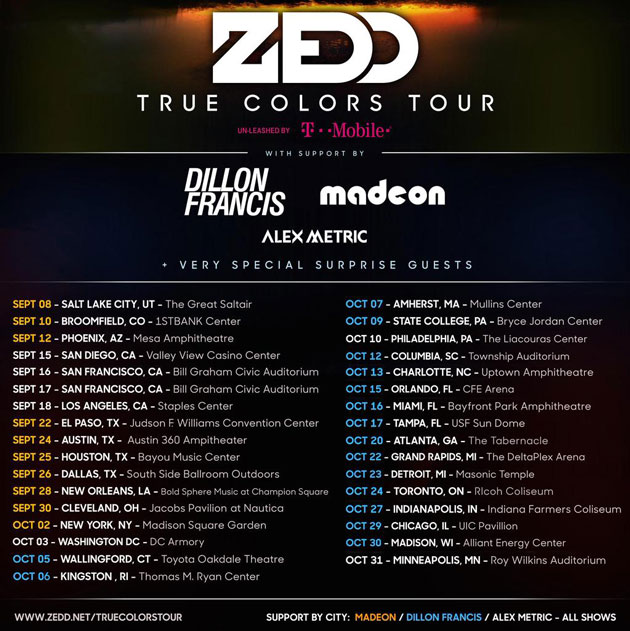 download → Zedd, Benny Benassi, Alvin Risk & Alex Metric - Live at True Colors Tour, Bill Graham Auditorium, San Francisco, USA, 720p Stream - 17-Sep-2015