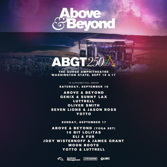 Above & Beyond, Yotto, Oliver Smith, Seven Lions & Jason Ross, Luttrell, Genix & Sunny Lax - live at Group Therapy 250 (The Gorge Amphitheater) - 16-Sep-2017