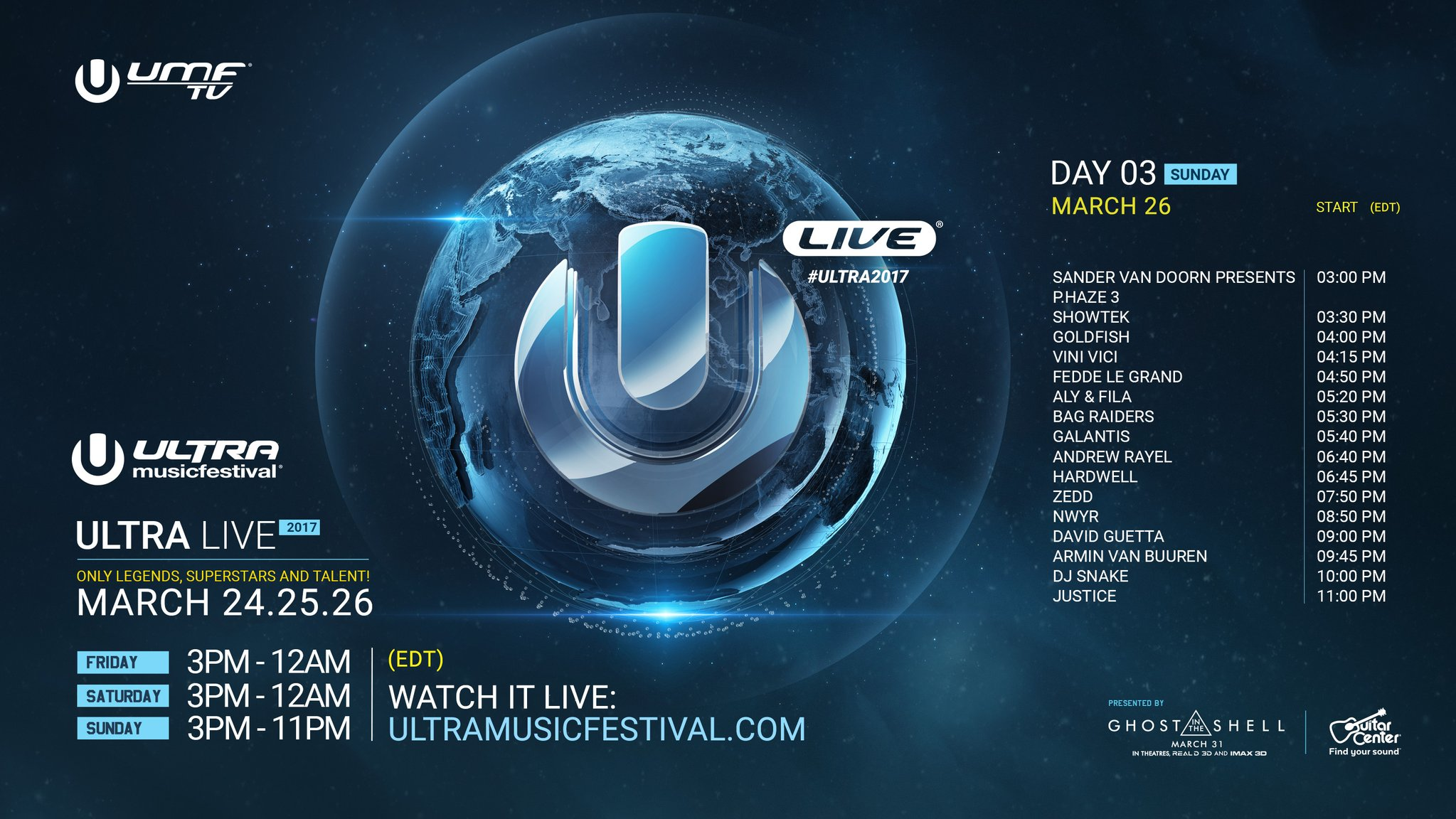 Hardwell, Zedd, David Guetta, DJ Snake, Justice etc - Live at Ultra Music Festival Miami Day3, 1080p Stream - 26-Mar-2017