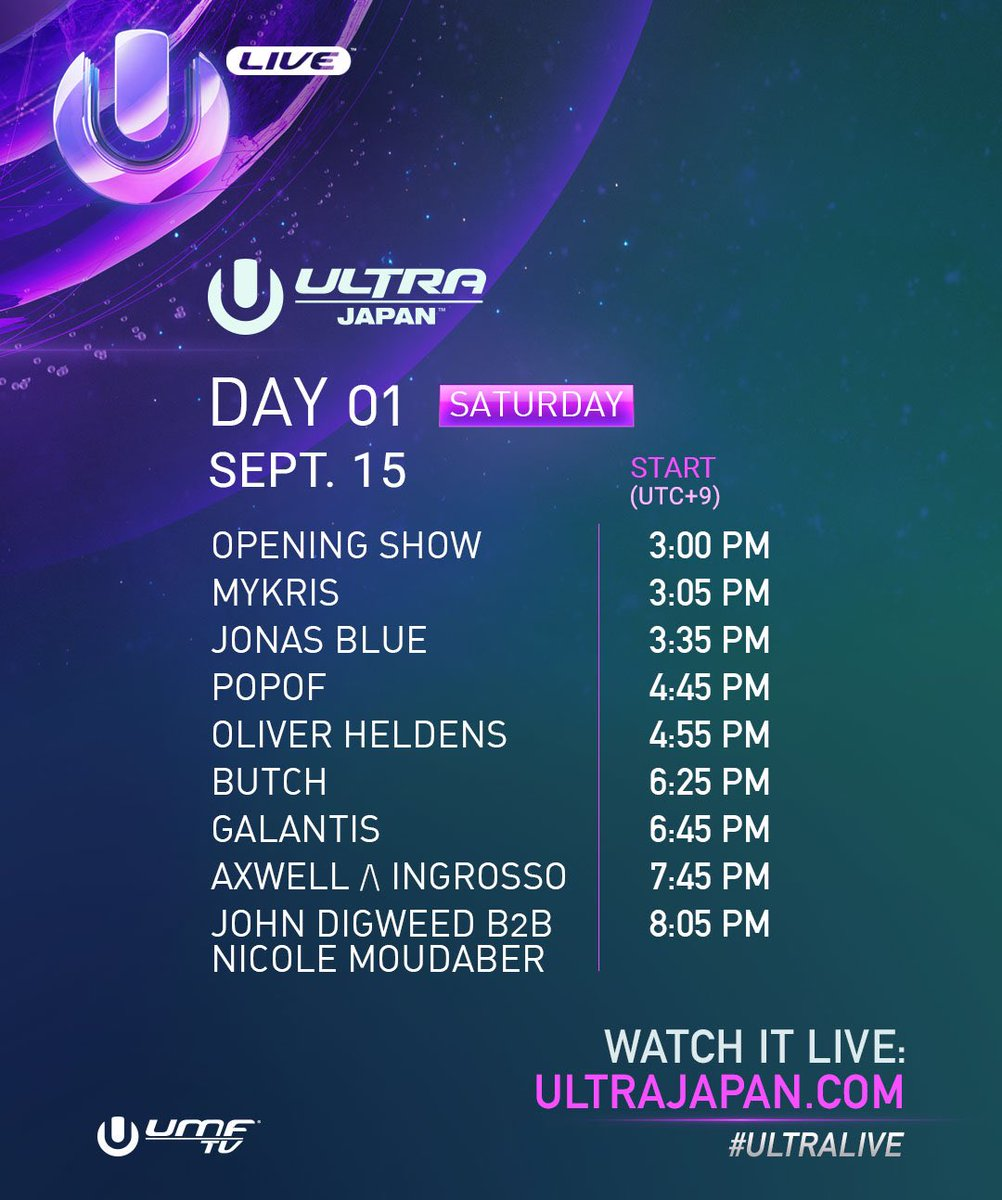 Galantis, John Digweed b2b Nicole Moudaber, Jonas Blue, Oliver Heldens etc - Live at Ultra Japan Day1, 1080p Stream - 15-Sep-2018