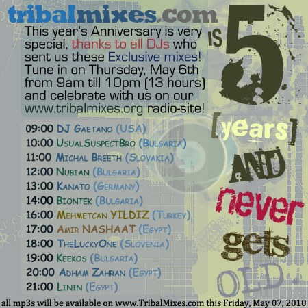 TribalMixes.com 5th Anniversary Celebration :: Guesting: Mehmetcan YILDIZ, Amir NASHAAT, BREETH & (aired on May 6th, 2010) banner logo