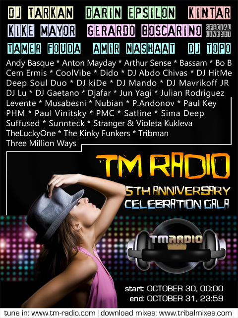 TribalMixes presents :: TM RADIO 5th ANNIVERSARY CELEBRATION (aired on October 30th, 2011) banner logo